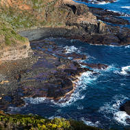 The rocks directly below Cape Schanck lighthouse from the top of the lighthouse.
