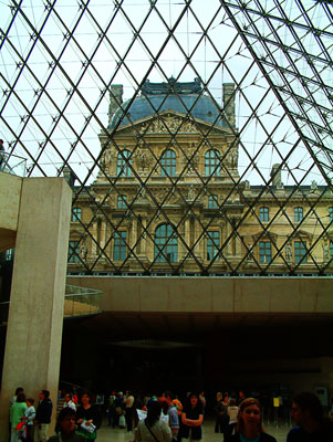 Thumbnail image ofInside the Louvre museum looking up through the...