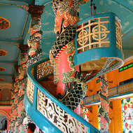 Elevated platform inside the Cao Dai temple.