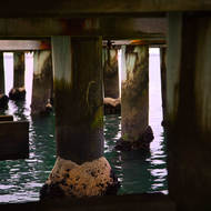 Looking under Port Melbourne pier.