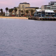 Port Melbourne Yacht Club and beachfront apartments.