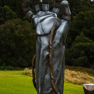National park statue Past history and future hope representing humans interacting with the forest.