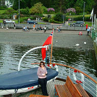 Bowness ferry terminal and pier on Lake Windermere.