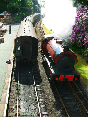 Thumbnail image ofSteam locomotive and train of the Lakeside and...