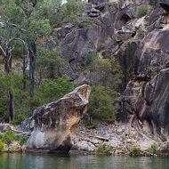 Coomba Falls and waterhole panorama.