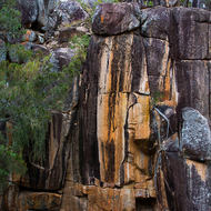 Colored granite hosting the roots of trees beside the Coomba waterhole.