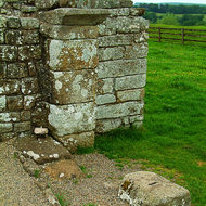 Remants of an arched doorway in a Roman Fort along Hadrian's Wall.
