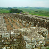Ruins of an old building with under floor heating in a Roman Fort along Hadrian's Wall.