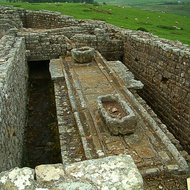 The latrines of a Roman Fort along Hadrian's Wall.