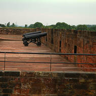 Ready for action, cannon on the battlements of Carlisle Castle.