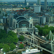 Charing Cross station, the Golden Jubilee Bridge and the city of London.