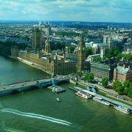The Palace of Westminster, the houses of Parliament of the United Kingdom, on the River Thames.