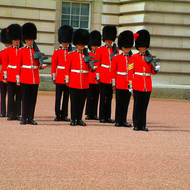 They're changing guards at Buckingham Palace.
