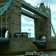The Tower Bridge over the River Thames.