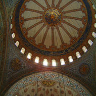 The domed ceiling of the Sultan Ahmet Mosque, the Blue Mosque.
