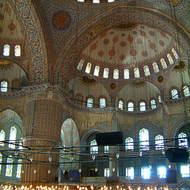 Inside the Sultan Ahmet Mosque, the Blue Mosque.