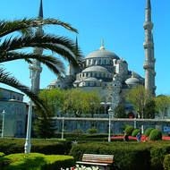 Well-maintained garden in front of the Sultan Ahmet Mosque, the Blue mosque.
