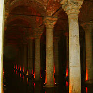Inside the Binbirdirek cistern, built by the Romans.