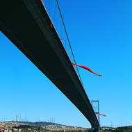Passing under the Bosphorus Bridge on the Bosphorus or Istanbul Strait.