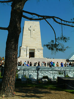 Thumbnail image ofLone Pine cemetery and memorial to the ANZACs...