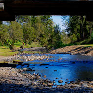 Road bridge over Canungra Creek at the camp ground.