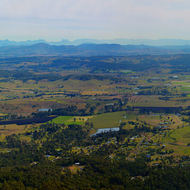 Panorama of the Canungra Valley and the mountains of the scenic rim.