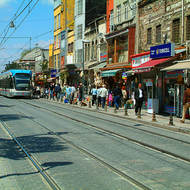 Streetcar serves a shopping strip near the Grand Bazaar.
