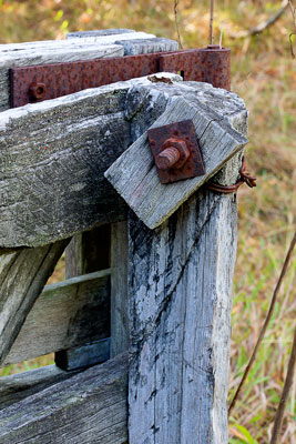 Thumbnail image ofBeware the cattle bolt. Old gatepost and gate.