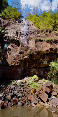 Thumbnail image of Vertical panorama of Protesters Falls waterfall.