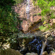 View back up the gorge of Bat Cave Creek at Protesters Falls waterfall.