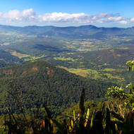Panoramic view north east over the Tweed River from the side of Mount Warning.