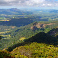 Panoramic view west from the summit of Mount Warning.