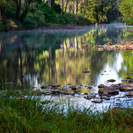 Reflections on the Tweed River as the sun drives off the remnants of the morning mist.