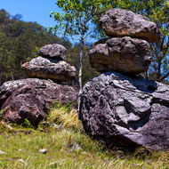 Balancing act.  Weathered boulders at the base of Mount Lindesay.