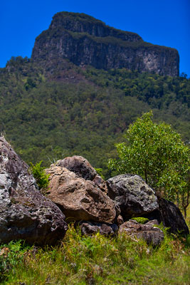 Thumbnail image ofMount Lindesay looms over the boulder debris field...