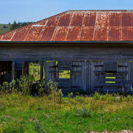 No longer in use. Abandoned farm shed.