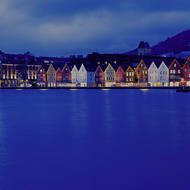 Old trading village area on Bryggen on Bergen's Vagen harbor.