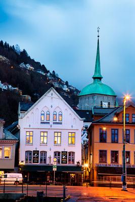Thumbnail image ofFrom Vagen harborside, Domkirken Bergen (Bergen...