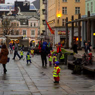 Day care day out in Bergen's Torgallmenningen city square.