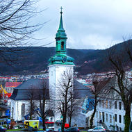 Nykirken, early 18th century church beside Bergen's Vagen harbor.