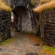 Entranceway through the thick wall of Fredriksberg fortress.