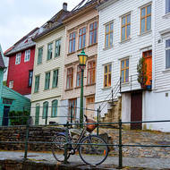 Bicycle in laneways and stairways of Bergen.