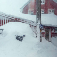 Finse railroad station at 1,222 metres above sea level snowed in.