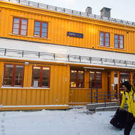 Boarding passengers at Geilo on the Oslo-Bergen railroad, 792 metres above sea level.