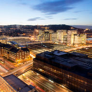 Dawn breaking over Oslo Central railroad station.