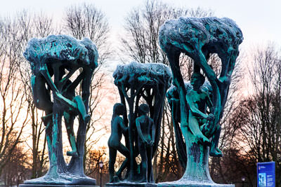 Thumbnail image of The tree group at the fountain, representing the...