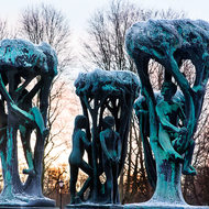 The tree group at the fountain, representing the life of man.