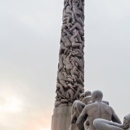 The carved granite monolith at the highest point of the Vigeland Sculpture Park.