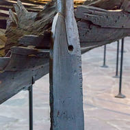 Rudder and remains of a Viking boat.