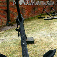 Anchors on display in front of the Norwegian Maritime Museum.